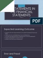 Misstatements in the Financial Statements