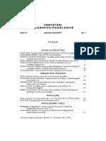 Sumar Cercetari Filosofico-psihologice, Anul IX, Nr. 1, 2017