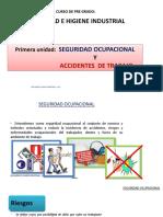 SEGURIDAD Ocupacional y Accidentes de Trabajo - CURSO de PRE GRADO