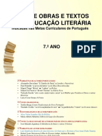 Lista de Obras e Textos Para Educação Literária