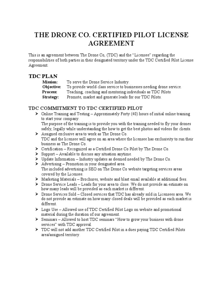 Tdc Certified Pilot Licensee Agreement 2017 Indemnity Law Of Agency