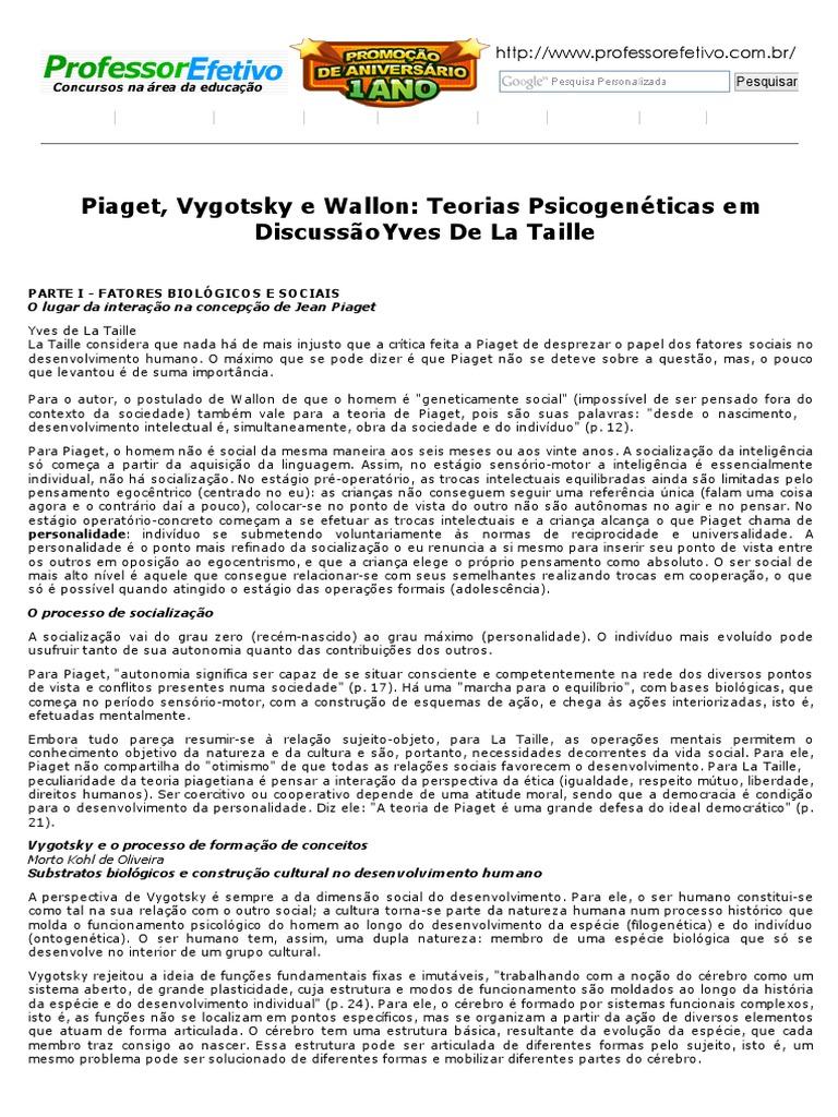 3cecc092521 Teorias Psicogenéticas em Discussão - Yves De La Taille.pdf
