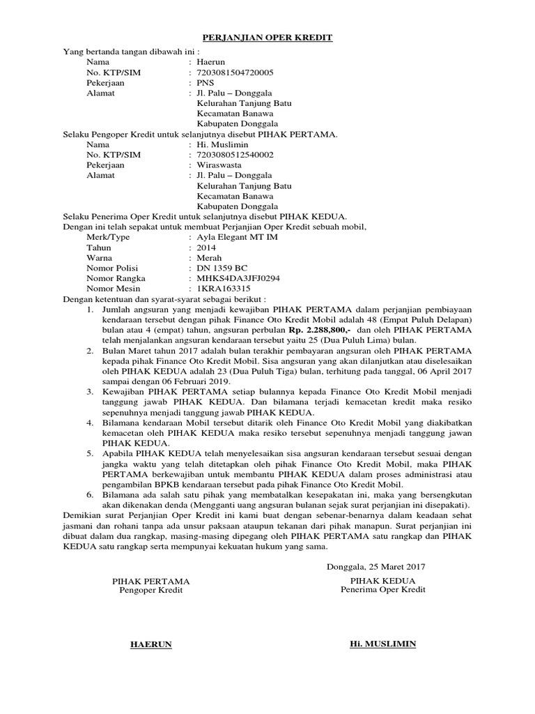 Surat Perjanjian Oper Kredit