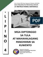 FIL 4 MISOSA - Mga Diptonggo Sa Tula at Mahahalagang Pangyayari Sa Kuwento