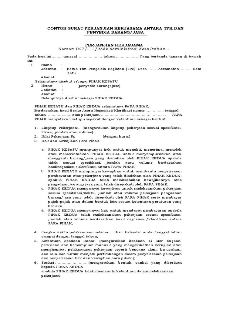 Contoh Surat Perjanjian Kerjasama Antara Tpk Dan Penyedia Barang