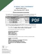 Aviso de Reinscripciones 2017-2018