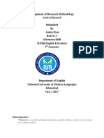 Assignment of Research Methodology M.phil