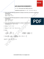 Quadratic Equations Worksheet 3