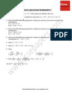 Quadratic Equations Worksheet 3