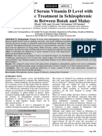 Differences of Serum Vitamin D Level With Antipsychotic Treatment in Schizophrenic Male Patients Between Batak and Malay