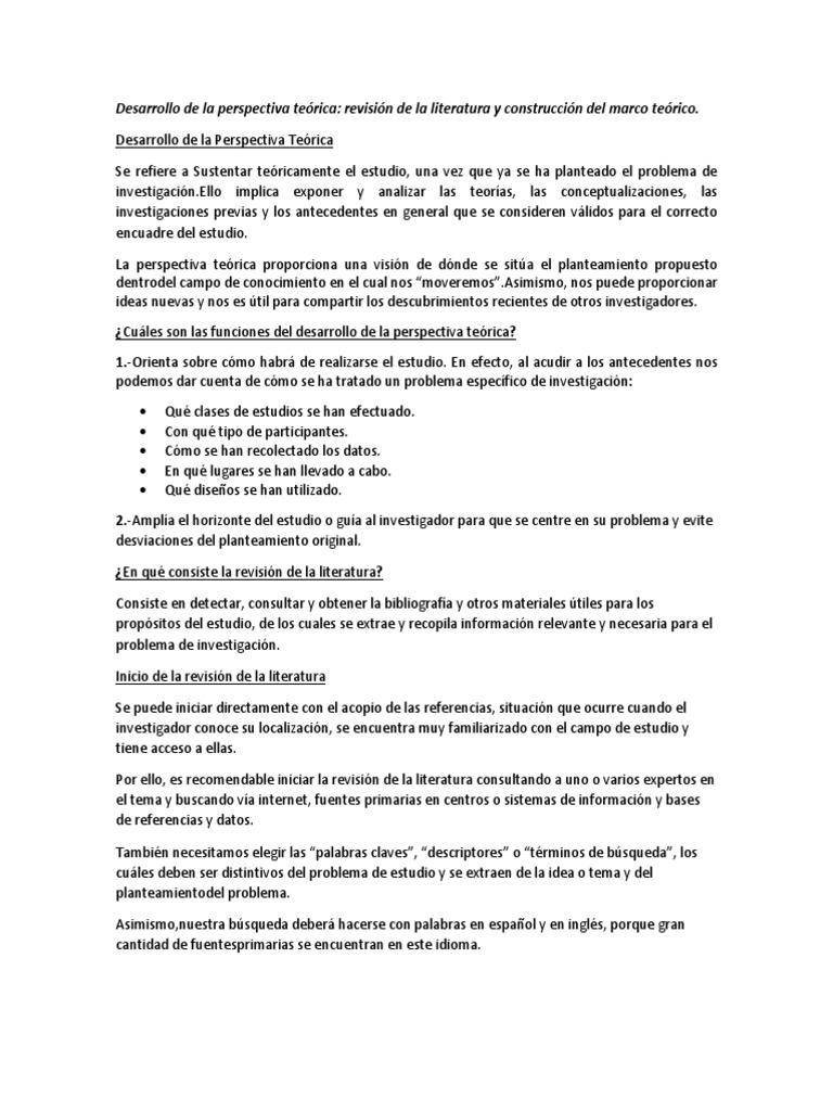 Resumen: Revisión de la literatura y construcción del marco teorico