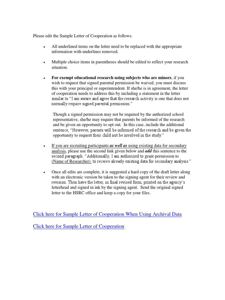 SampleLetterOfCooperationInstructions docx