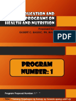 Education and Advocay Programs on Health and Nutrition
