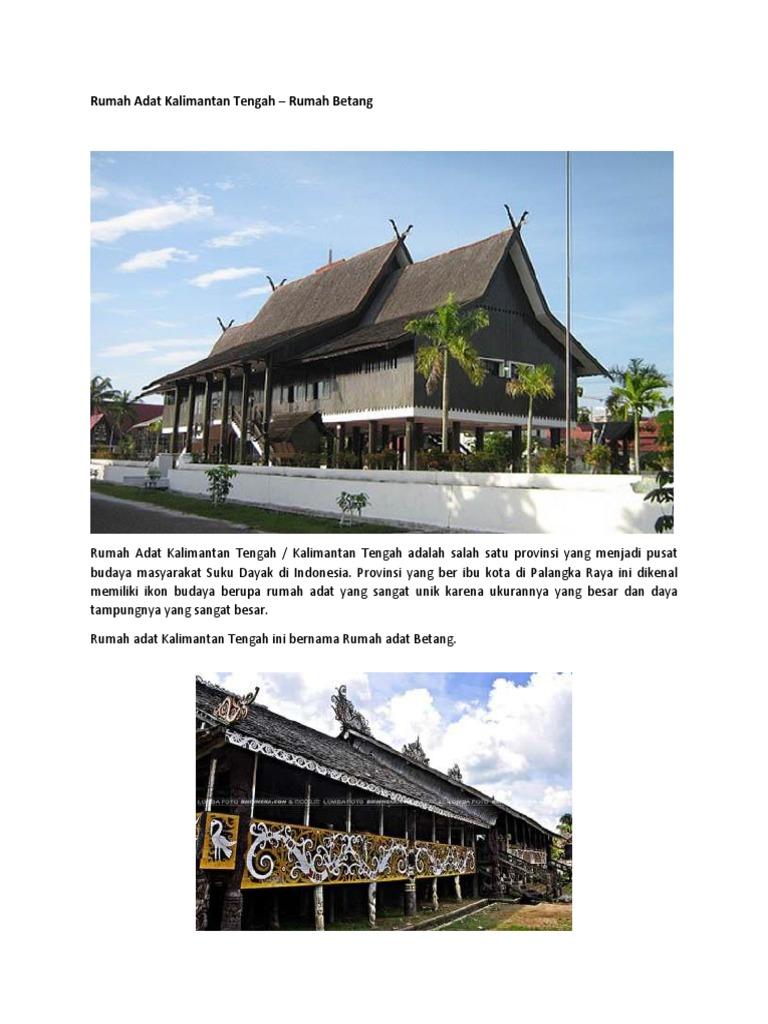 Rumah Adat Kalimantan Tengah Rumah Betang