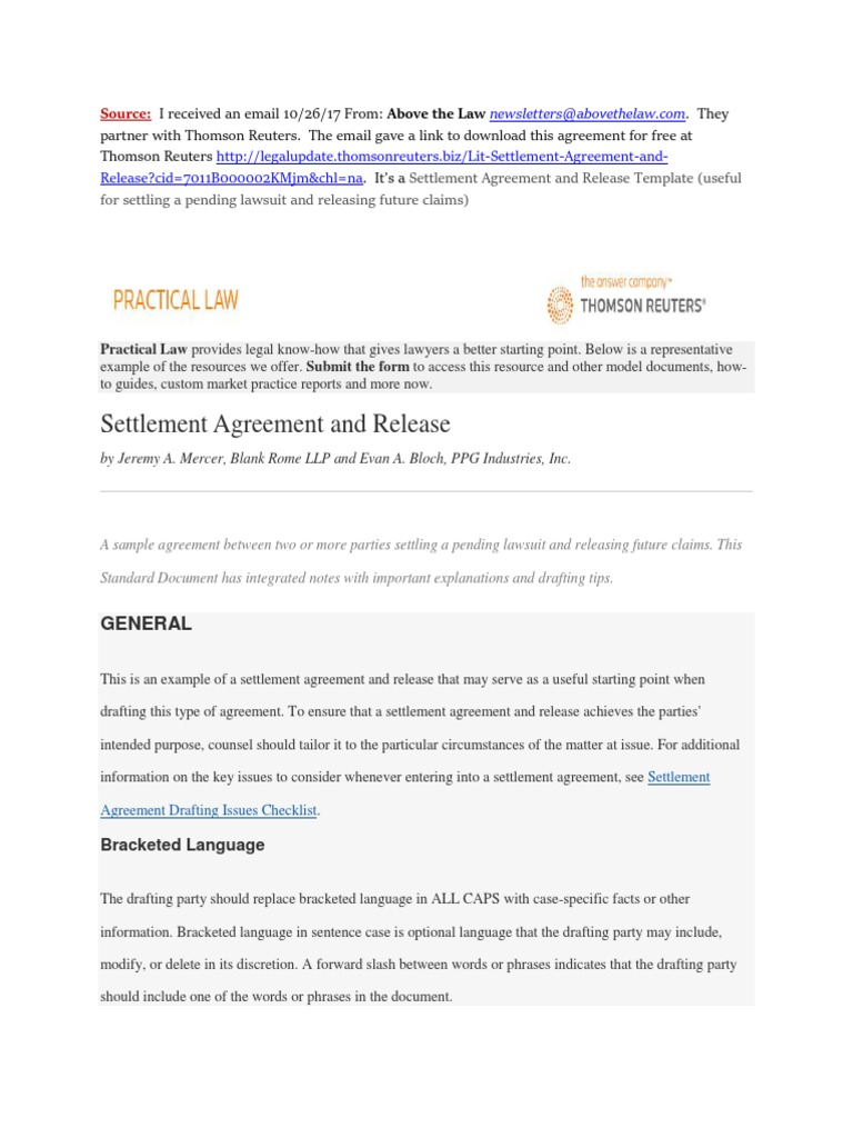 Settlement Agreement And Release Template (Useful For Settling A Pending  Lawsuit And Releasing Future Claims) | Settlement (Litigation) | Damages