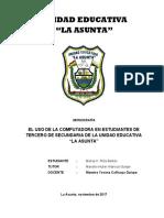Monografia uso de la PC en estudiantes de Tercero de Sec.