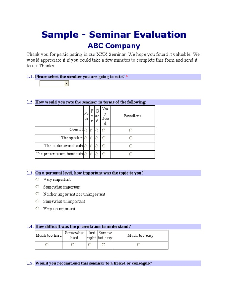 Sample Seminar Evaluation Form – Seminar Evaluation Form