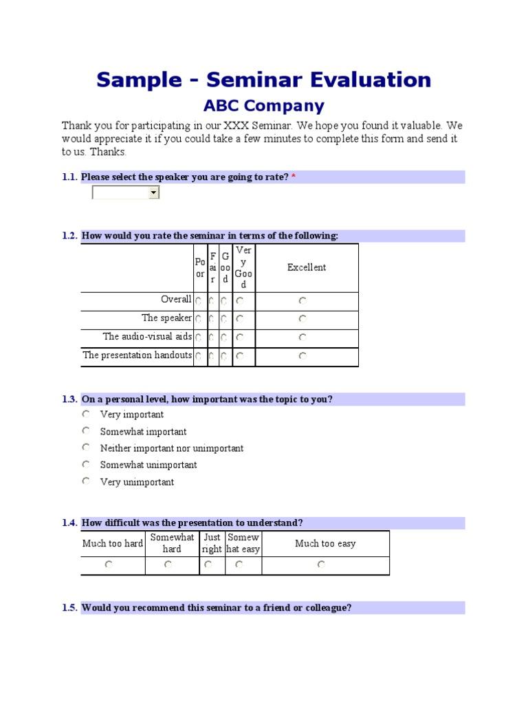 Sample Seminar Evaluation Form