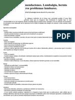 Ejercicios y Recomendaciones. Lumbalgia, Hernia Discal L4-L5 y Otros Problemas Lumbares.