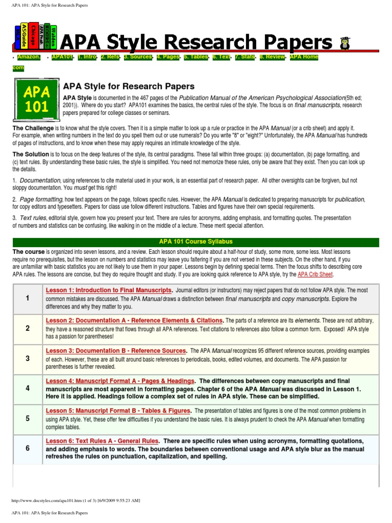 guide research paper apa