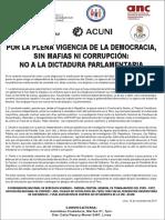 PRONUNCIAMIENTO CONTRA LA DICTADURA PARLAMENTARIA