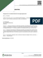 Decreto 158 del 2015 que designa a as nuevas autoridades del INTA
