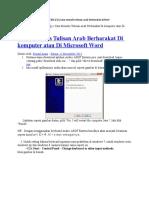 Cara Menulis Tulisan Arab Berharakat Di Komputer Atau Di Microsoft Word