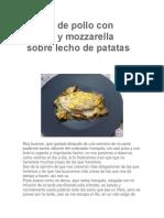 Gratín de Pollo Con Bacon y Mozzarella Sobre Lecho de Patatas