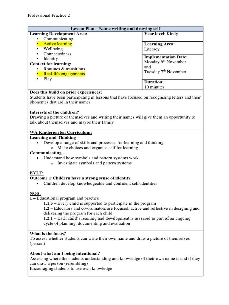 Lesson Plan - Name Writing and Drawing Self - Block Week 26