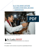 MR. RAJAPAKSA, IF YOU WANT CAPTURE POWER DO IT IN SOME OTHER WAY, WE HAVE NO PROBLEM – SAMPANTHAN.docx