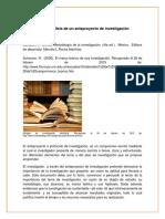 Elaboracion y Analisis de Un Anteproyecto de Investigacion