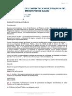 Reglamento de Contratacion de Seguros Del Ministerio de Salud Publica