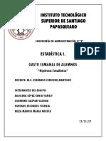 GASTO SEMANAL DE ESTUDIANTES DEL ITSSP