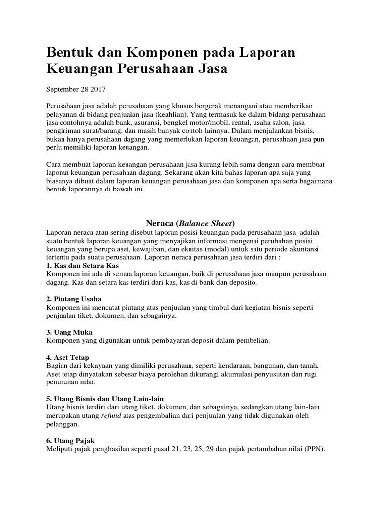 Bentuk Dan Komponen Pada Laporan Keuangan Perusahaan Jasa