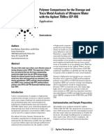 [Agilent App Note] Polymer Comparisons for the Storage and Trace Metal Analysis