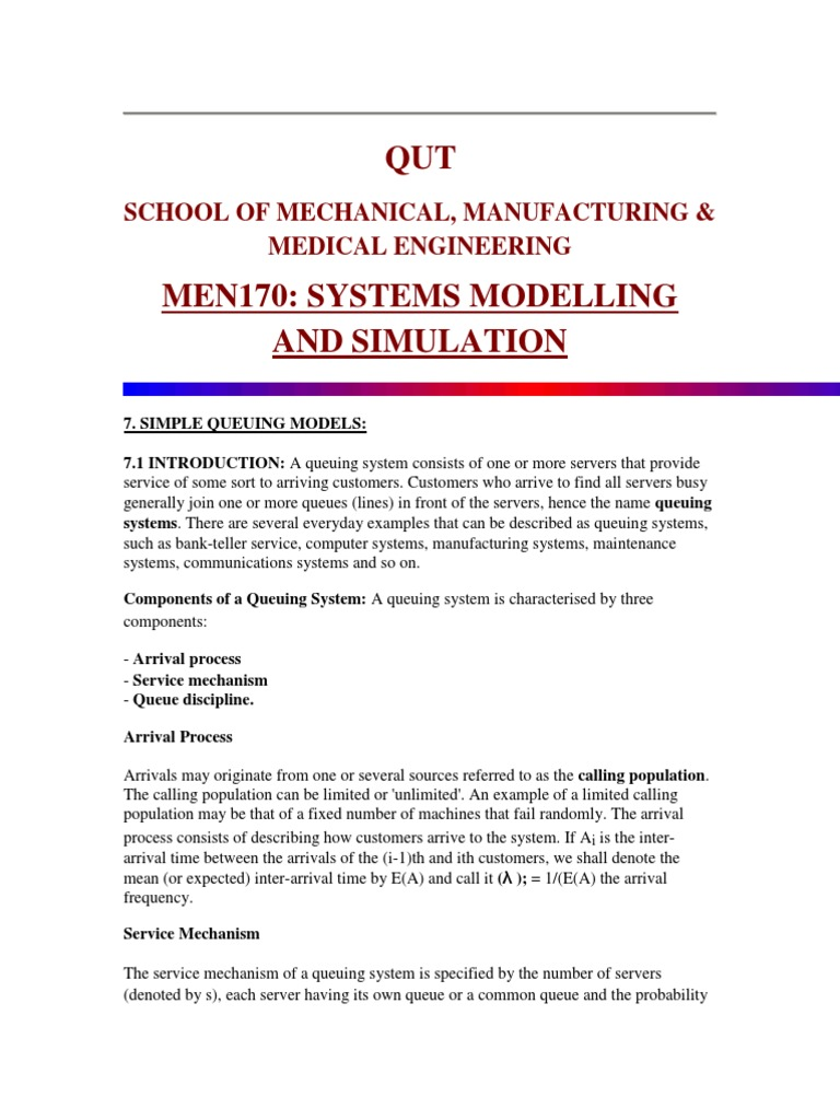 Simple Queuing Models PDF | Markov Chain | Probability