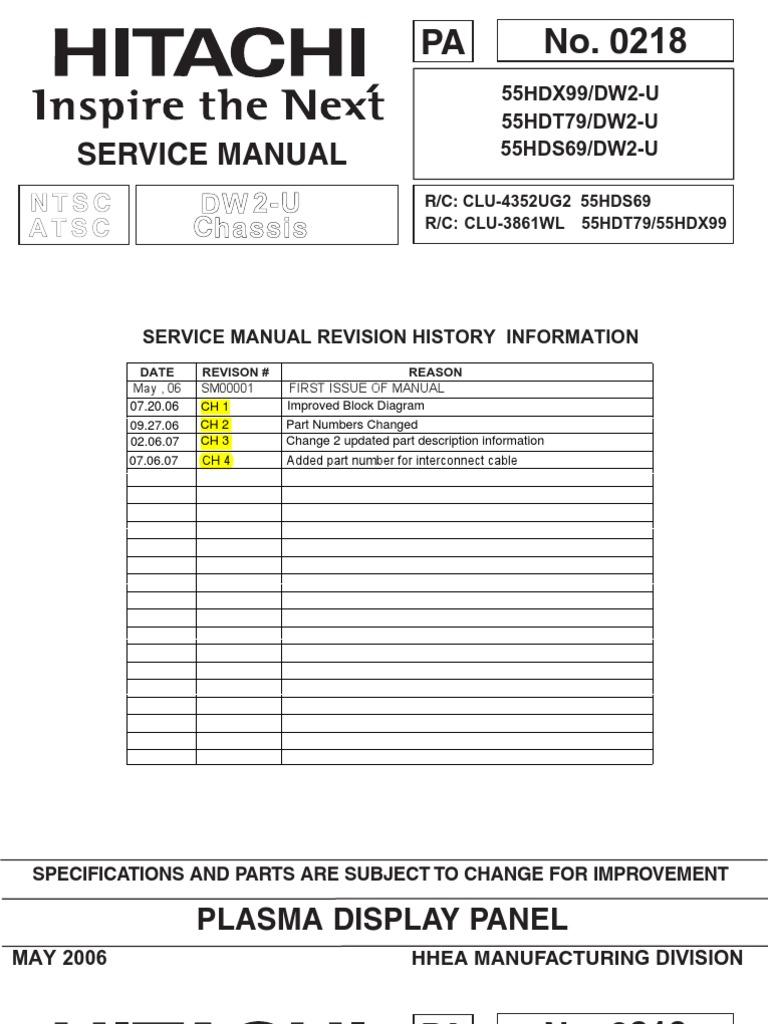 Hitachi 55HDT79 Service Manual | Printed Circuit Board ... on