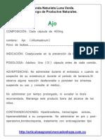 Catalogo de Productos Medicinales Naturales - Tienda Naturista Luna Verde.