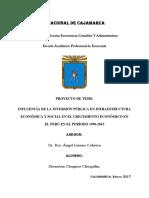 Proyecto de Tesis Influencia de Inversion en Infraestructura Económica y Social en El Crecimiento Económico