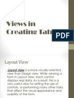 Views in Creating Table