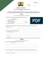 Application for Reg of a Prvte Med Inst
