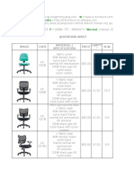 Office Chair Quotation Sheet