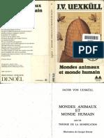 Uexkuell Jakob Von Mondes Animaux Et Monde Humain