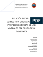 Informe Trabajo Final Cristalografia. Grupo de La Domeykita.