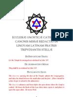 Ecclesiæ Gnosticæ Catholicæ Canonis Missæ Redactio in linguam Latinam