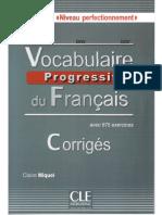 Vocabulaire progressif du français corrigés