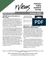 October 2003 Valley Views Newsletter Potomac Valley Audubon Society
