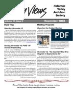 November 2004 Valley Views Newsletter Potomac Valley Audubon Society