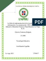 La falta de implementación de las TIC en el centro educativo Monseñor Francisco Panal Ramírez