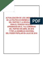 Actualizacion de Lineamientos 7mo Congreso Del PCC y ANPP - Julio 2016